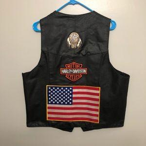 Tuff hide Harley Davidson patch leather vest vtg